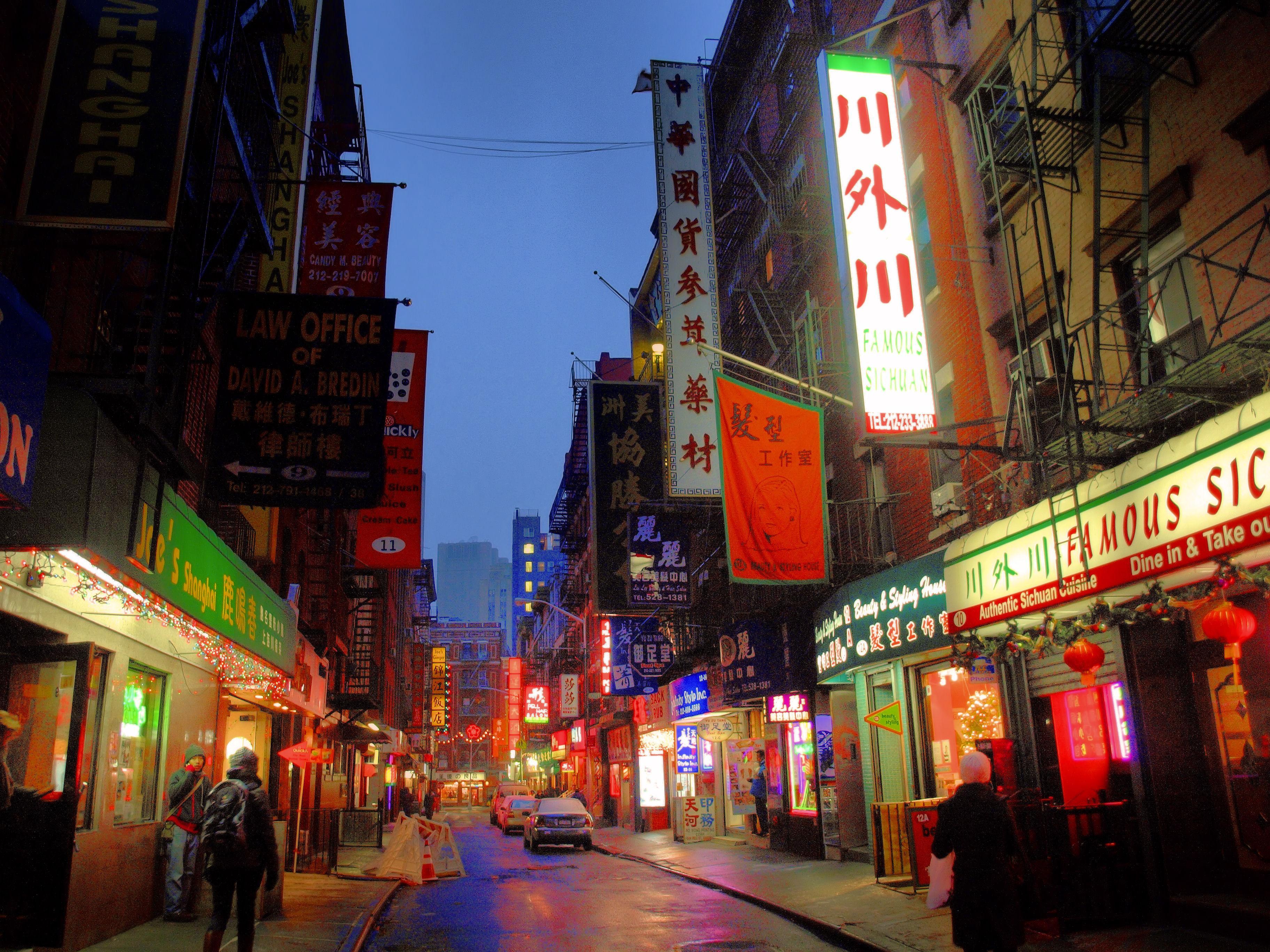 Обои ночь, движение, manhatten, чайнатаун, улица, здание, манхеттен. Города foto 15