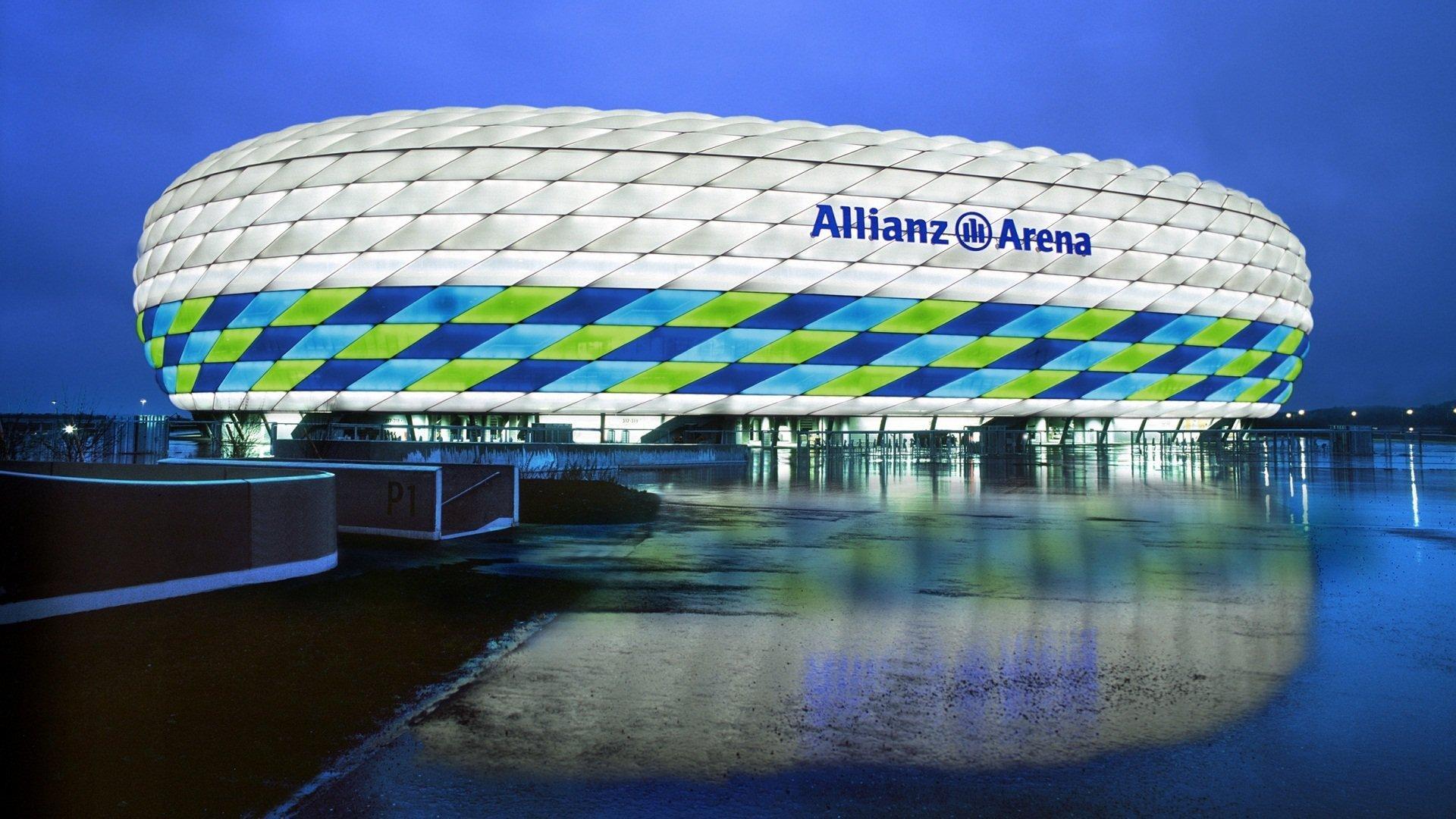 Обои альянц арена, мюнхен, подсветка, германия, стадион. Города foto 10