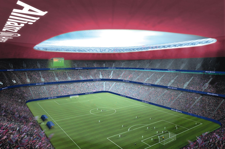 Обои альянц арена, мюнхен, подсветка, германия, стадион. Города foto 19
