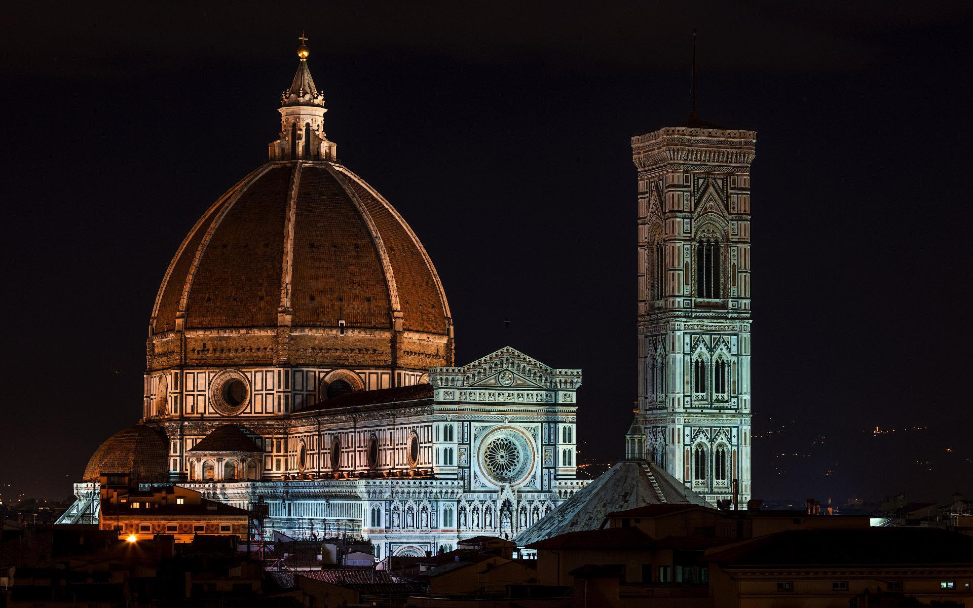 Обои собор санта-мария-дель-фьоре, купол, флоренция, дома, колокольня Джотто. Города foto 13